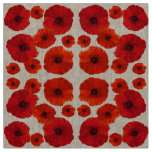 Red Poppy Flower Pattern Fabric