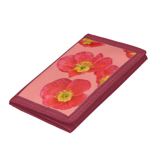Red Poppy Flower Tri-fold Wallet
