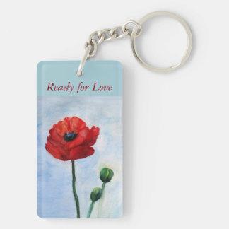 Red Poppy Flower Watercolor Art Keychain