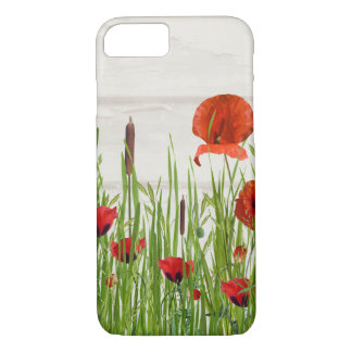 red poppy flower with cattails iPhone 7 case
