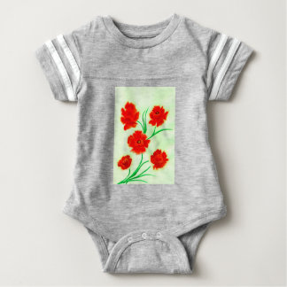 Red Poppy Flowers Baby Bodysuit