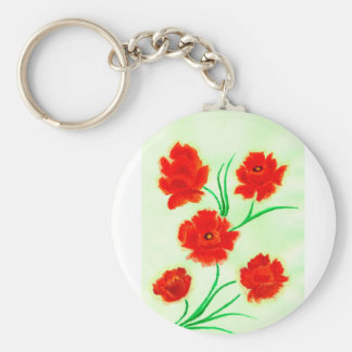 Red Poppy Flowers Basic Round Button Keychain