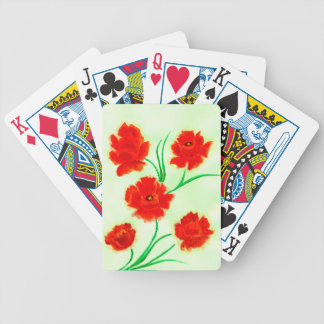 Red Poppy Flowers Bicycle Playing Cards