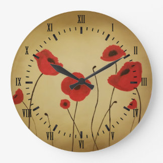 Red Poppy Flowers Black Roman Numerals Large Clock