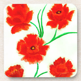 Red Poppy Flowers Coaster