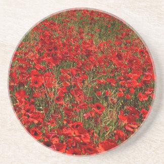 Red Poppy Flowers Coaster
