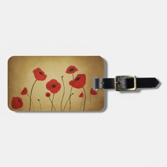 Red Poppy Flowers Custom Luggage Tag