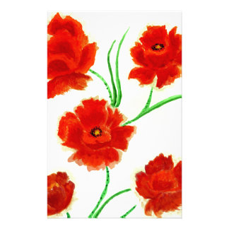 Red Poppy Flowers Customized Stationery