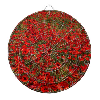 Red Poppy Flowers Dartboard