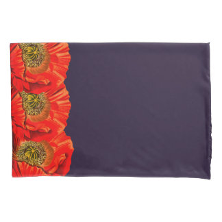 Red Poppy Flowers Edge & Dark Navy Pillowcase