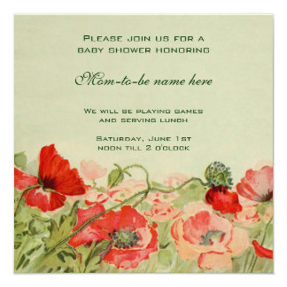 Red Poppy Flowers Floral Meadow Baby Shower Card