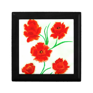 Red Poppy Flowers Gift Box