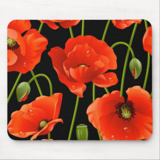 Red Poppy Flowers Mouse Pad