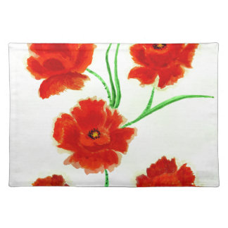 Red Poppy Flowers Placemat