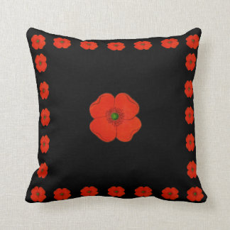Red poppy flowers - poppies throw pillow