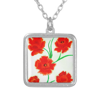 Red Poppy Flowers Silver Plated Necklace