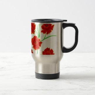 Red Poppy Flowers Travel Mug