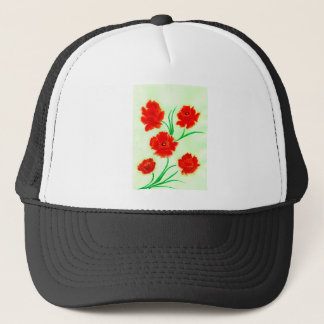 Red Poppy Flowers Trucker Hat