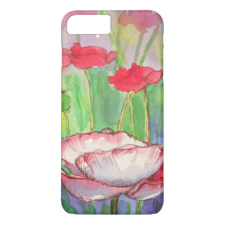 Red Poppy Flowers Watercolor iPhone 7 Plus Case
