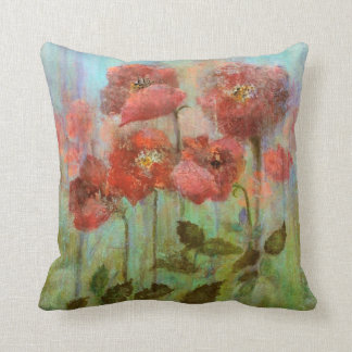 Red Poppy Flowers Watercolor Throw Pillow