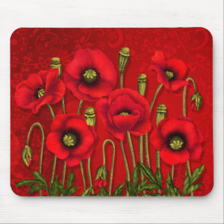Red Poppy Garden on Bold Swirls of Red Mouse Pad