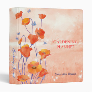 Red Poppy Gardening Journal Scrapbook Binders