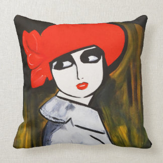 RED POPPY GIRL THROW PILLOW