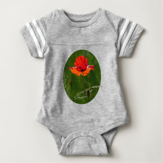 Red poppy in summer 02 baby bodysuit
