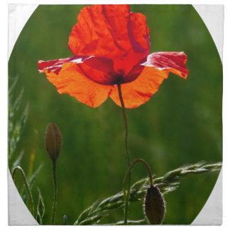 Red poppy in summer 02 napkin