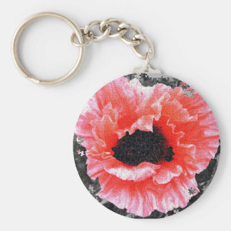 Red poppy jigsaw key-ring/key-chain basic round button keychain