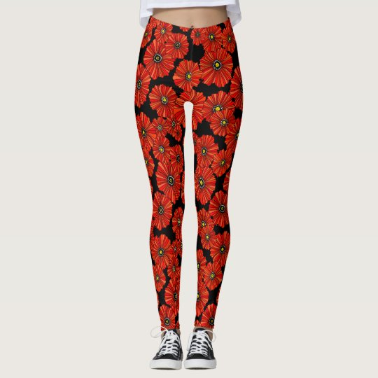 Red poppy leggings