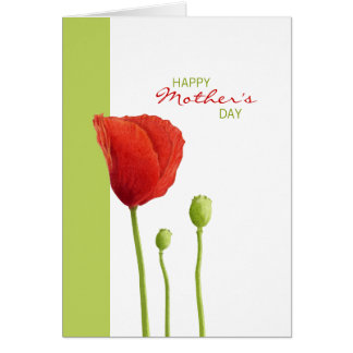 Red Poppy lime Mother's Day Card