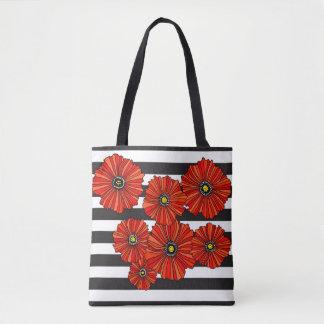 Red poppy modern stripe tote bag reusable shopper
