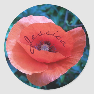 Red poppy. monogram. classic round sticker