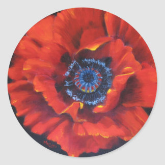 Red Poppy on Black Stickers