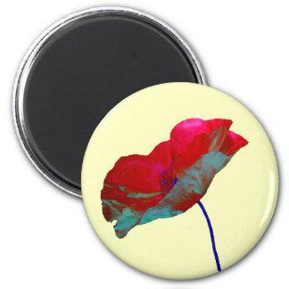 Red poppy on cream 2 inch round magnet