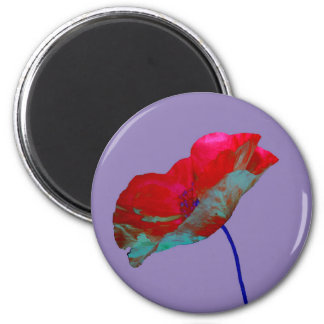 Red poppy on warm purple magnet