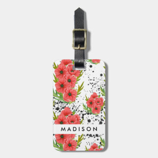 Red Poppy Paint Splatters Bag Tag