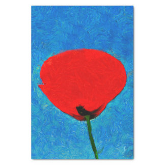 Red poppy painting tissue paper
