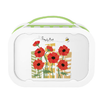 Red Poppy Patch with Bee Lunchbox