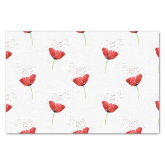Red Poppy Pattern Tissue Paper