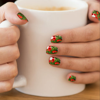 Red poppy photo nail seal nails sticker