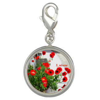 Red poppy photo pendant head photo charm