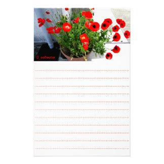 Red poppy photo stationery