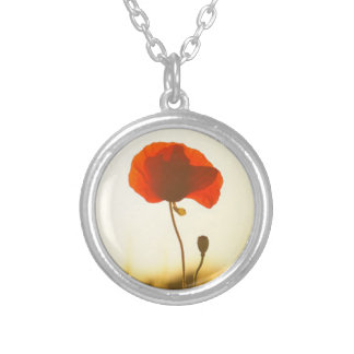 Red Poppy Remembrance Silver Plated Necklace