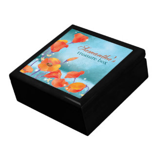 Red Poppy Rustic Turquoise Floral Gift Box