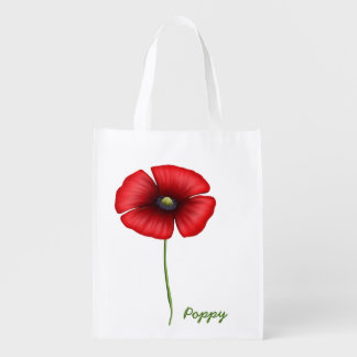 Red poppy single stem Reusable Bag