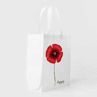 Red poppy single stem Reusable Bag