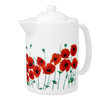 Red Poppy Teapot