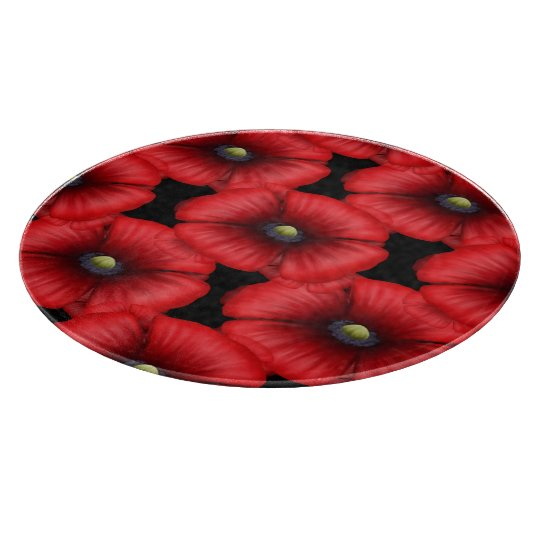 Red Poppy tiled on Black Round Chopping Board